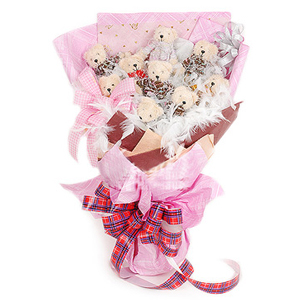 9 Small Teddy Bears Bouquet
