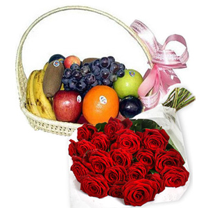 Fruit Basket With Flower Bouquet