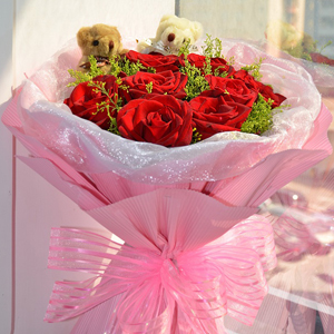 Red Roses With Lovely Bears